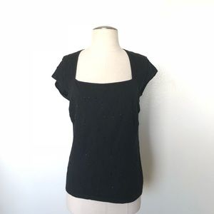 Ann Taylor Muscle Sleeves Black Top Small